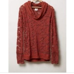Lilka ANTHROPOLOGIE Sheer Frosted Lace Cowl Top S